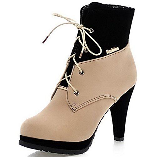 AllhqFashion Damen Hoher Absatz Gemischte Farbe Rund Zehe Mattglasbirne Schnüren Stiefel, Cremefarben, 41