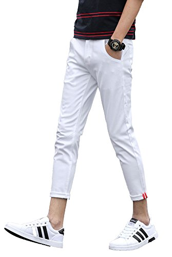 Plaid&Plain Men's Slim Fit Stretch Casual White Pants Cropped Chinos Flood Pants White 27