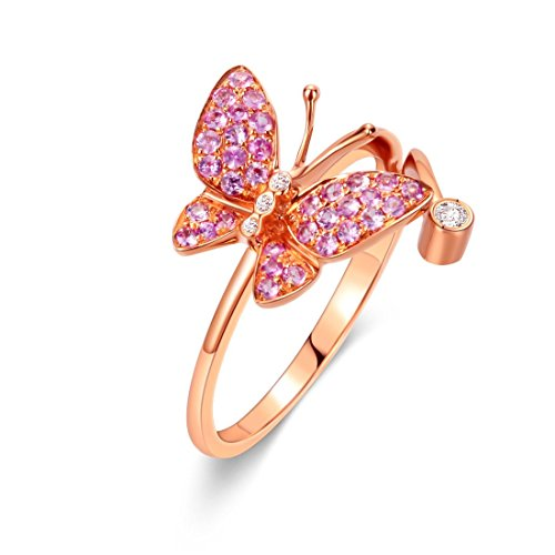 (Carleen 18K Solid Rose Gold Pink Natural Sapphire Diamond Butterfly Ring Dainty Fine Jewelry Rings for Women Girls (5))