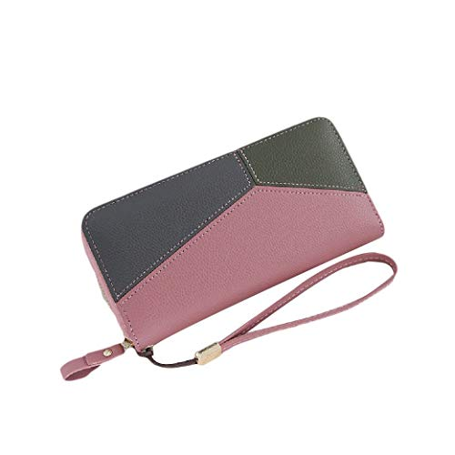 ZimaesWomen Clutch Color Conjoin Wristlet Leather Wallet