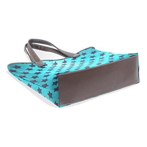 Modello Vintage Blu Pu Grande Shoulder Bags 33x45x13 Cuoio Muticolour Maniglia Coosun Bag Tote Texture L Di Stella Cm dpW7n1