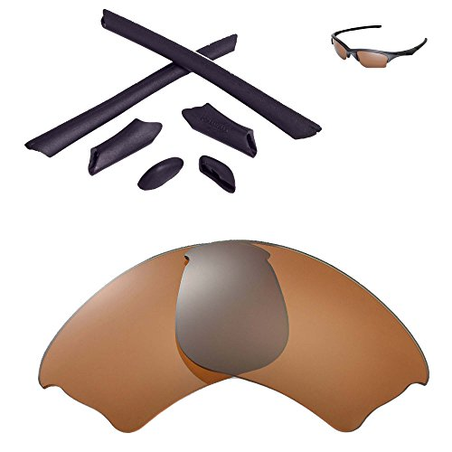 Walleva Replacement Lenses Or Lenses/Rubber Kit for Oakley Half Jacket XLJ Sunglasses - 41 Options (Brown Polarized Lenses + Black Rubber) ()