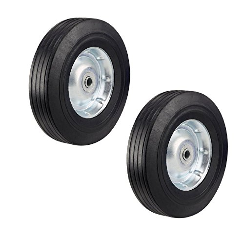 Two Heavy Duty Never-Flat 10-Inch Solid Hard Rubber Hand Truck Wheels - Fits 5/8