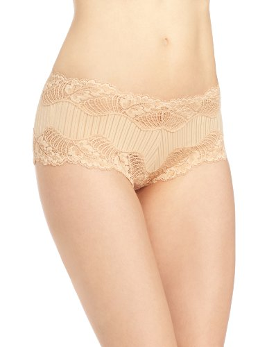 Paramour by Felina Women's Stripe Delight Hipster Panty, Fawn, Medium