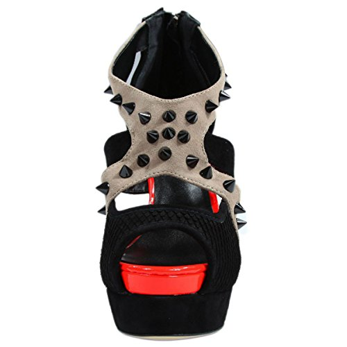 Janiko High-Heels Woo-Woo Peep-toe black/beige/red MW202