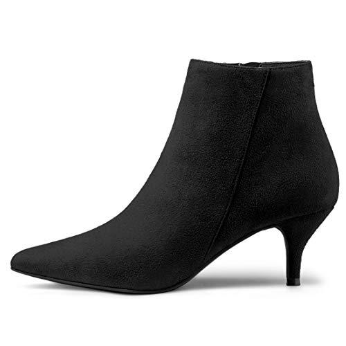 Ankle Pointed K Black Stiletto Allegra Women's Booties Zip Heel Toe Kitten 6Ox8aq