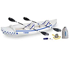 Sea Eagle 370 Kayak Pro PackageRace down the river or cruise a mirror-smooth lake at dawn in the Sea Eagle Sport kayak. It holds up to 650 pounds, but weighs only 32. Easily portable, it carries upto three people and gear, but can be transpor...
