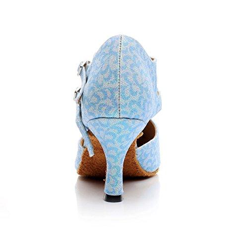 Pour Latin Salsa Satin Femmes EU41 Blue Floral UK7 5cm heeled7 Tango JSHOE Our42 Chaussures Indoor Ballroom Dance qwxY0Xv