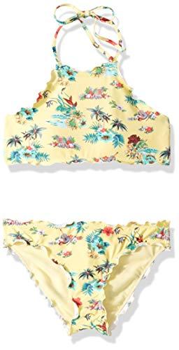 Hobie Big Girls' High Neck Bikini Top and Hipster Bottom Swimsuit Set, Lemonade//Aloha State of Mind, 7 ()