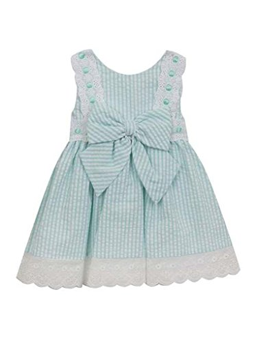 Rare Editions White Dress (Rare Editions Mint Green and White Seersucker Apron Sundress Dress- Size 5)