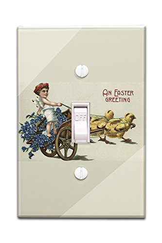 an-easter-greeting-kid-in-toga-on-chariot-pulled-by-chicks-light-switchplate-cover