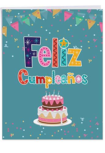 - Feliz Cumpleanos Spanish Birthday - Big Spanish Birthday Card with Envelope (Extra Large 8.5 x 11 Inch) - Colorful Greeting Notecard with Cake Design Banner, Confetti - Bday Stationery J6587BDG-SL