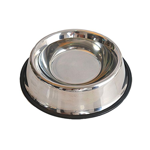 Eudally Stainless Steel Non-Skid/Non-Tip Embossed Pet Bowl, Anti-Corrosion, Rust-Resistance,Dishwasher-Safe (L)