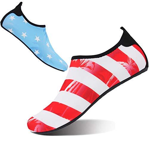 FEETCITY Women Men Summer Athletic Water Shoes Aqua Socks for Beach Swimming Pool Star Stripe M(W:7.5-8.5,M:6-7) ()