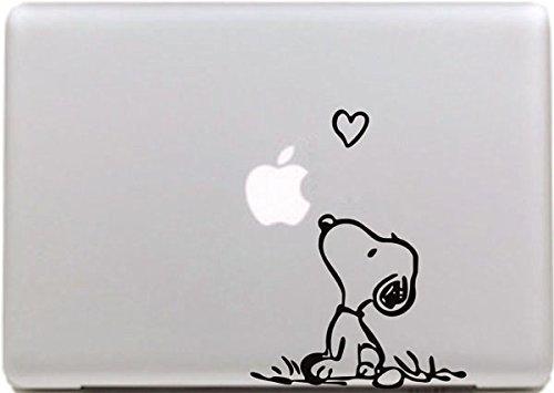 VATI Leaves Removable Creative Love Snoopy Decal Sticker Skin Art Black for Apple MacBook Pro Air Mac 13