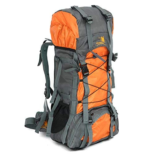 Free Knight 60L Internal Frame Backpack Hiking Travel Backpack Camping Rucksack 60L Extra Large (Orange)