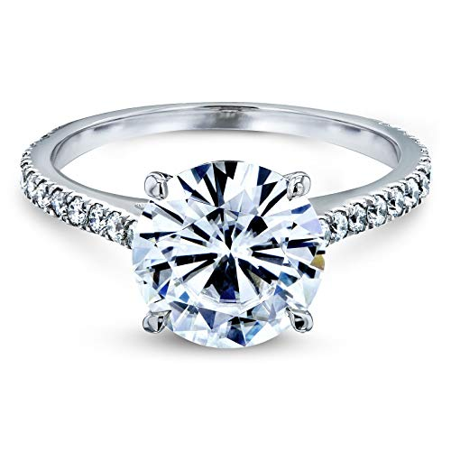 3 Carats ct.tw Basket Cathedral Round Brilliant-cut Moissanite Engagement Ring 14k White Gold, (HI/VS, GH/I) 10