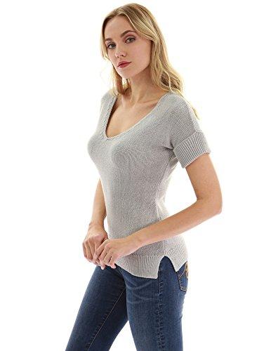 Mujer En Gris V Cuello Con Corta Claro Camiseta De Manga Pattyboutik ATz0OqdO