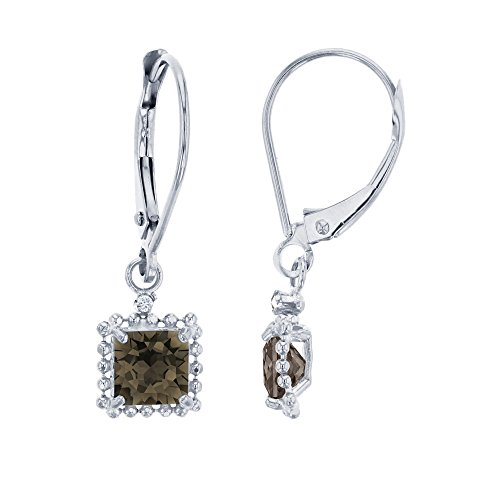 10K White Gold 1.25mm Round Created White Sapphire & 5mm Square Smokey Quartz Bead Frame Drop Leverback Earring