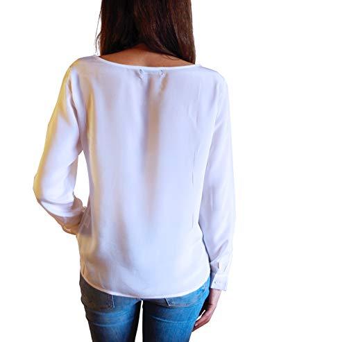 Manica Bianco Posh Seta Donna Gear Lunga De Blusa Rotondoseta w8FHYZ