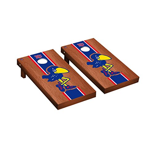 - College Vault Kansas KU Jayhawks Cornhole Game Set Rosewood Stained Stripe Version