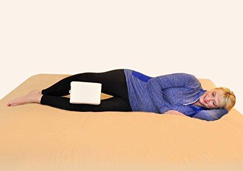 Leg Knee Pillow For Better Alignment, Better Sleep & Pain Relief | Great For Maternity & Side Sleepers, Contoured Memory Foam | BONUS Extra Velvet Cover