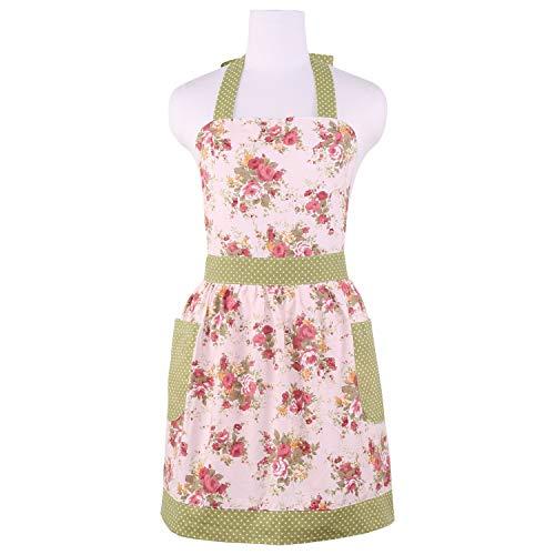 Cotton Canvas Apron for Women with Pockets Kitchen Cooking Aprons Vintage Retro Adjustable Bib Apron Plus Size Apron for Baking Gardening Apron Dress