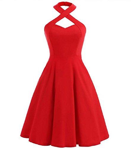 Confortables Années 50 Licol Slim Femme Solide Rouge Hepburn Robe De Cocktail Mini Fête