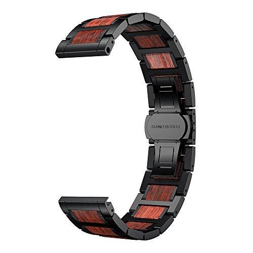 ldfas 20mm madera natural sándalo rojo banda de metal reloj de acero inoxidable para Garmin vivoactive 3/Forerunner...