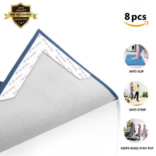 Rug Gripper for Hardwood Floors | Reusable Non Skid & Slip Grippers.Flattens Area Rug Corners & Stops Rug Slipping.Anti Curling Carpet Mat Pad for Ruggies with Renewable Grip Tape (Black)
