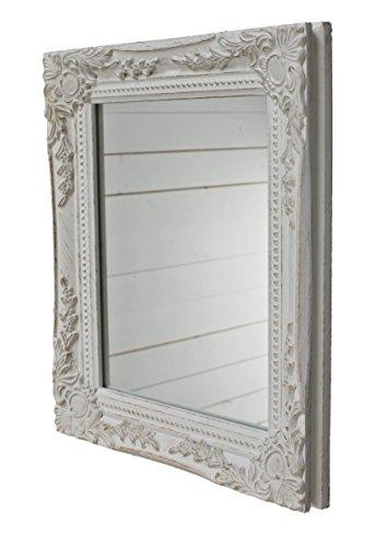 32x27x3cm rechteckiger Wand-Spiegel, handgefertigter Vintage-Antik-Rahmen aus Holz, weiß, inkl. Befestigung