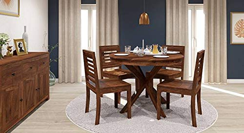 Ganpati Arts U Oval Four Seater Dining Table Set in Solid Sheesham Wood