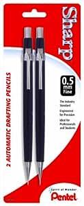 Pentel Sharp Automatic Pencil, 0.5mm, Black Barrels, 2 Pack (P205BP2-K6)