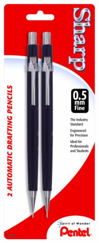 Pentel Sharp Automatic Pencil, 0.5mm, Black Barrels, 2 Pack (P205BP2-K6)