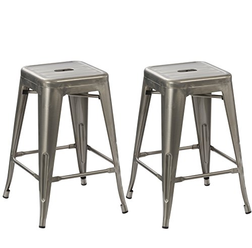 BTEXPERT 24-inch Industrial Antique Rustic Clear Brush Distressed Metal Bar Stools Stackable Tabouret Dining room (Set of Two) by BTEXPERT