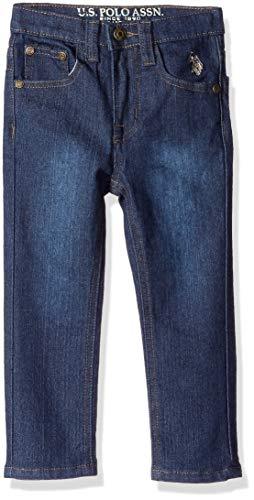 U.S. Polo Assn. Toddler Boys' Straight Leg Denim Jean, Flex Washed Indigo, 4T