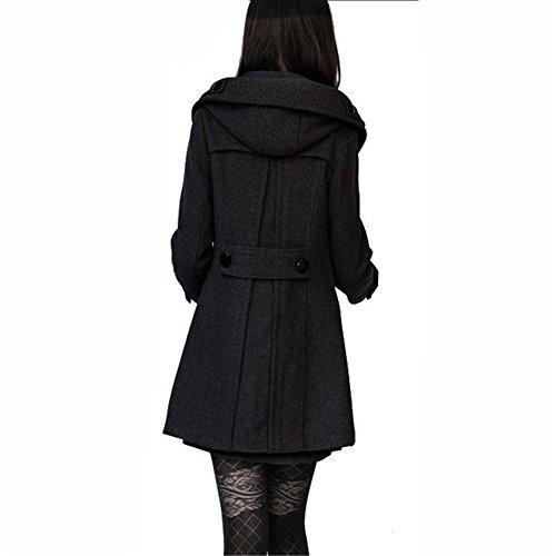 Hiver Chaud Manteau Capuche Femme Mid Forrure Manteau Teruixing Style Noir long wfRYqEtH