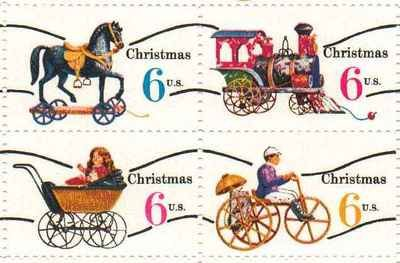 Christmas Variety Issue Precancel Set Of 4 X 6 Cent US Postage Stamps 1415 18a