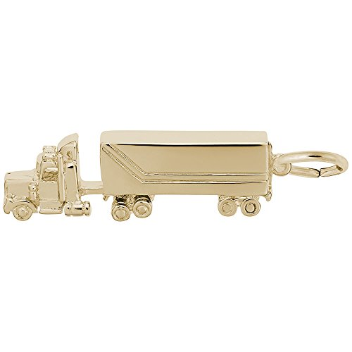 Gold Plated Semi Truck Charm, Charms for Bracelets and - Charm Gold Plated Truck