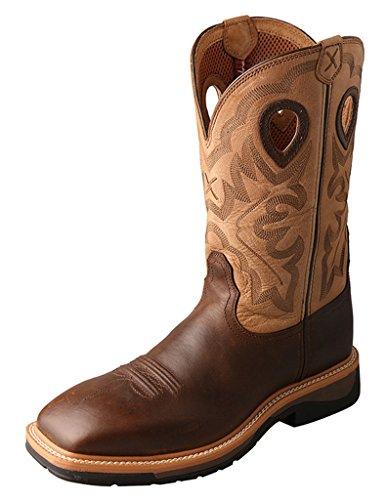 Twisted X Men's Hazel Lite Weight Cowboy Work Boot Steel Toe Brown 10 D(M) US