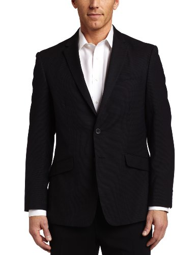 Kenneth Cole REACTION Men's 2 Button Single Vent Separate Jacket, Black/White Pindot, 36 Regular -