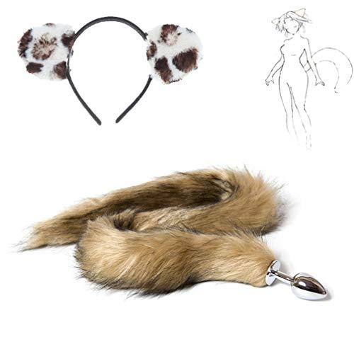Pre-fashion Cosplay Party Toy Costume Set Long Brown Furry Fox Tail + Ears Headband Halloween an-âl Pl-ùg T-ö-ys (White-Brown) -