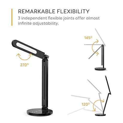 Eufy Lumos A4 LED Desk Lamp, Dimmable Table Lamp with Eye-Care Technology, Touch-Sensitive Control Panel, 5-Level Dimmer, 4 Lighting/Color Modes