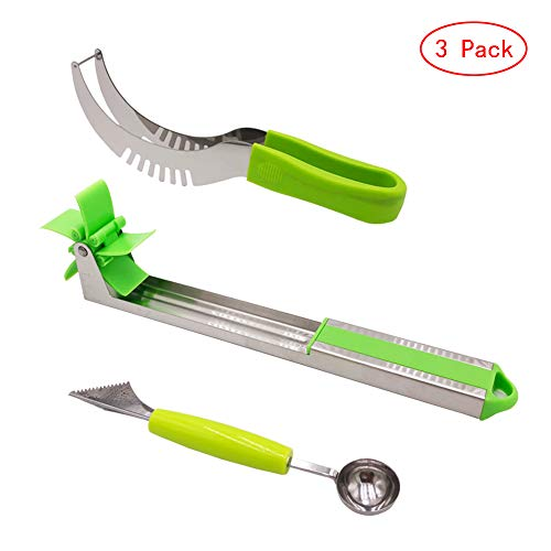 (MEISIYU Stainless Steel Windmill Watermelon Slicer Fruit Carving Kitchen Utensil Kit - Includes Watermelon Slicing Tool & Fruit Carving Knife/Spoon and Watermelon Windmill Slicer(Three styles) (3))