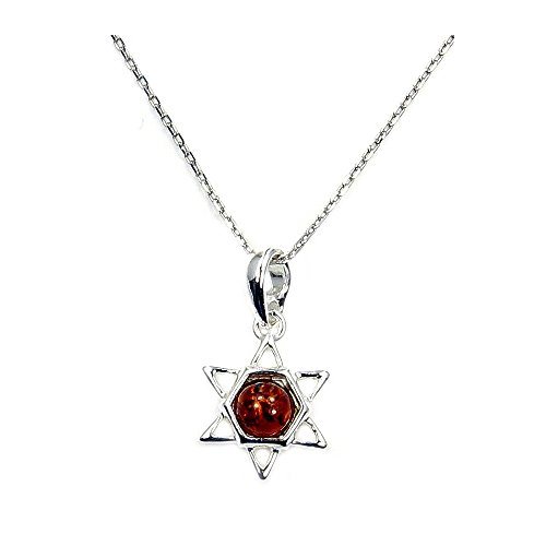Sterling Silver Natural Baltic Amber Jewish Star of David Pendant Necklace