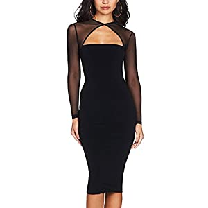 Maketina Women Midi Length Cut Out Keyhole Party Bodycon Bandage Dress with Transparent Long Sleeves