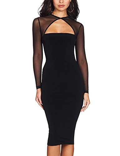 Maketina Women Midi Length Cut Out Keyhole Party Bodycon Bandage Dress with Transparent Long Sleeves Black S