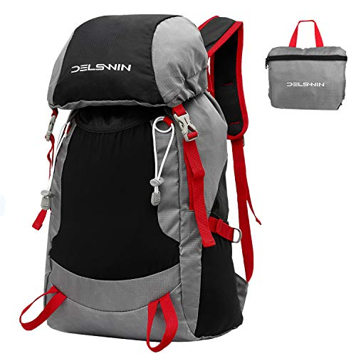 DELSWIN Durable Lightweight Backpack for Hiking & Travel – 35L Ultralight Packable Daypack for Men or Women – Outdoor Waterproof Foldable Backpack
