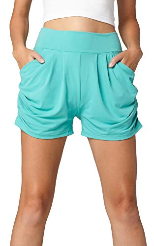 Premium Ultra Soft Harem High Waisted Shorts for Women with Pockets - Solid - Mint - Large/X-Large (12-18) ()