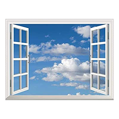 Removable Wall Sticker/Wall Mural - Blue Sky with White Clouds | Creative Window View Home Decor/Wall Decor - 36